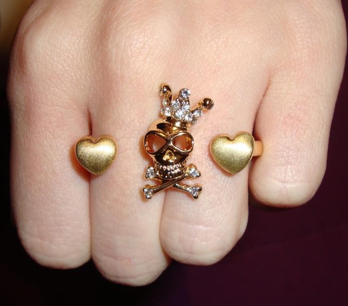 anel duplo caveira coração